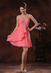 V-neck Watermelon for School Spring Party Dress with Beaded Decorate form Frankfort